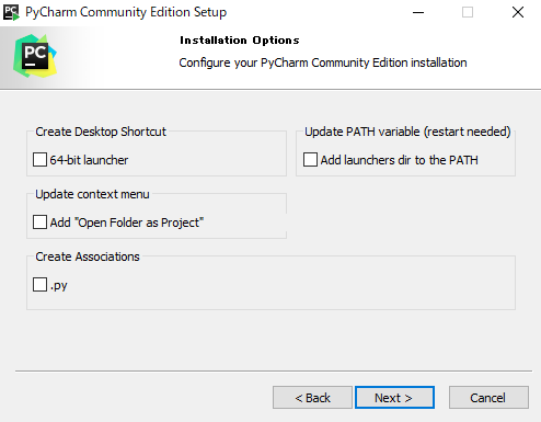 Pycharm Install Select Options