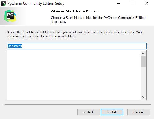 Pycharm Install Choose Start Menu Folder