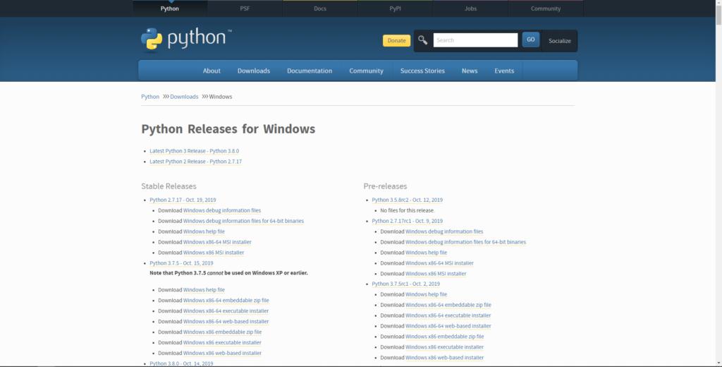 Pythonをダウンロード②