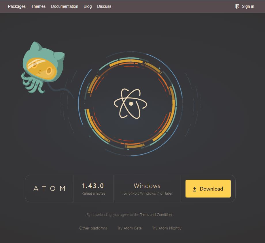 Atom公式トップ